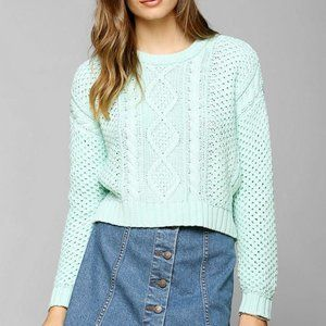 BDG Mint Green Cropped Cable Knit Sweater